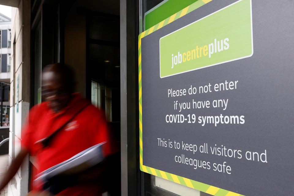A person leaves a branch of Jobcentre Plus, a government run employment support and benefits agency, as the outbreak of the coronavirus disease (COVID-19) continues, in Hackney, London, Britain, August 6, 2020. REUTERS/John Sibley