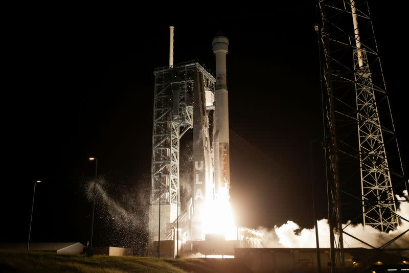 The Boeing CST-100 Starliner spacecraft, atop a ULA Atlas V rocket, lifts off for an uncrewed Orbital Flight Test to the International Space Station