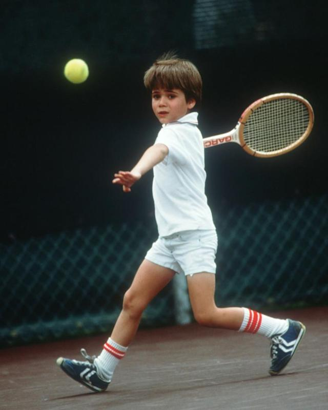"<span class=""element-image__caption"">Andre Agassi, aged seven, playing tennis in Las Vegas.</span> <span class=""element-image__credit"">Photograph: John Russell/Getty Images</span>"