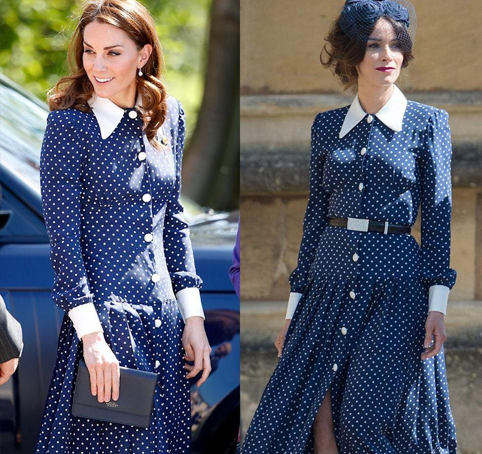 <p>We first saw this Alessandra Rich polka dot dress at Meghan Markle and Prince Harry's 2018 wedding, but it wasn't on the Duchess of Cambridge. Markle's long-time friend, actress Abigail Spencer, wore the look, and Kate Middleton wore it later for a family portrait in 2019. </p>