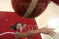 United States's Brittney Griner (15) reaches for a rebound during a women's basketball quarterfinal round game against Australia at the 2020 Summer Olympics, Sunday, July 25, 2021, in Saitama, Japan. (Gregory Shamus/Pool Photo via AP)