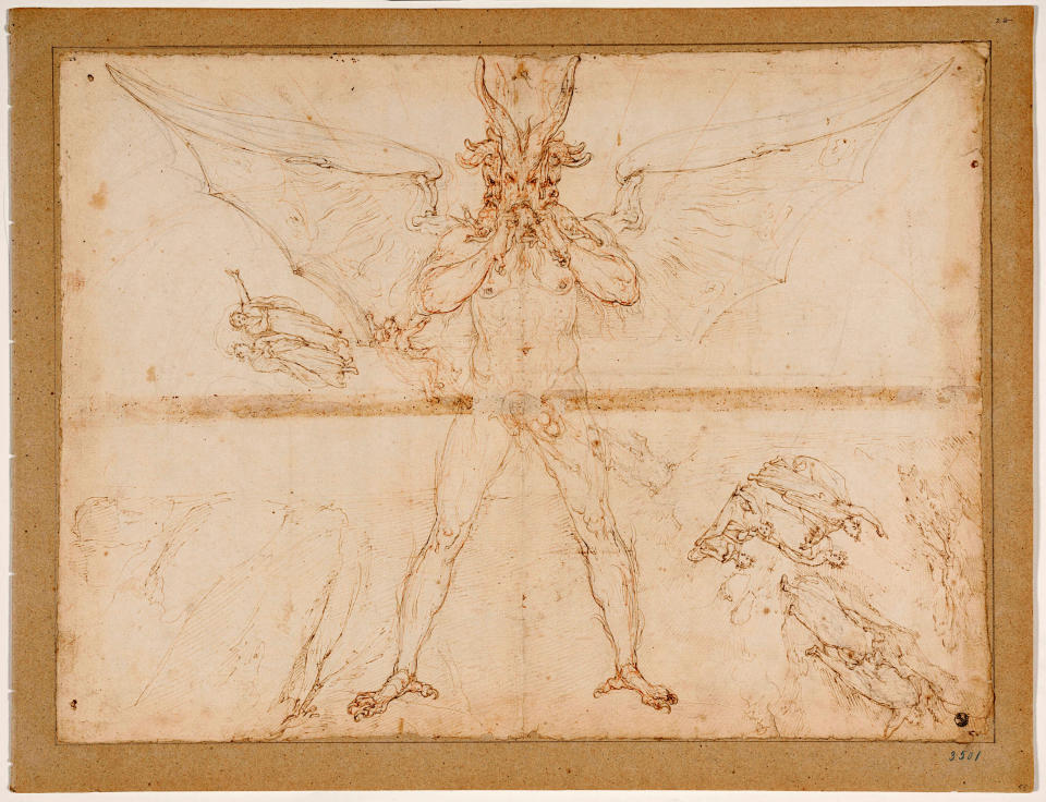 """This image made available on Thursday, Dec. 31, 2020, shows Lucifer, one of the original 88 drawings that went with Dante Alighieri's Divine Comedy by artist Federico Zuccari. Florence's Uffizi Gallery is making available for viewing online 88 rarely displayed drawings of Dante's Divine Comedy to mark the 700th anniversary in 2021 of the famed Italian poet's death. The virtual show of high-resolution images of works by the 16th Century Renaissance artist Federico Zuccari will be accessible from Friday """"for free, any hour of the day, for everyone,'' said Uffizi director Eike Schmidt. (Roberto Palermo/Uffizi Gallery via AP)"""
