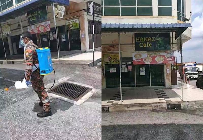 A fireman in disinfectant gear outside the cafe (left). A closed Hanaz Cafe in Ipoh (right). Photo: Viral Perak
