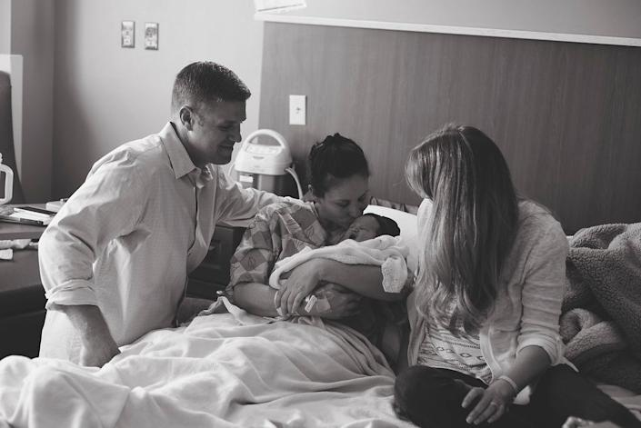"""""""Adoptive mom and dad and birth mom spending time with the baby together. Birth mom taking her in. The little girl is named Journey -- very fitting for their story."""" -- Brooke Smith"""