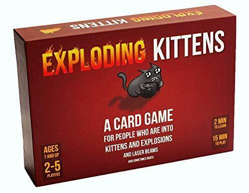 """<p><strong>Exploding Kittens LLC</strong></p><p>amazon.com</p><p><strong>$19.99</strong></p><p><a href=""""https://www.amazon.com/dp/B010TQY7A8?tag=syn-yahoo-20&ascsubtag=%5Bartid%7C10065.g.32745954%5Bsrc%7Cyahoo-us"""" rel=""""nofollow noopener"""" target=""""_blank"""" data-ylk=""""slk:BUY NOW"""" class=""""link rapid-noclick-resp"""">BUY NOW</a></p><p>We all can agree that we don't want kittens to explode. Luckily, no kittens were harmed in the making of this game, and none will be harmed while playing it either. Exploding Kittens is a game of chance, and the whole objective is not to draw an exploding kitten card. Once you do, the game is over, and the last person standing wins. There are different action cards to help you avoid the kittens and stay in the game just in case you aren't so lucky. </p>"""