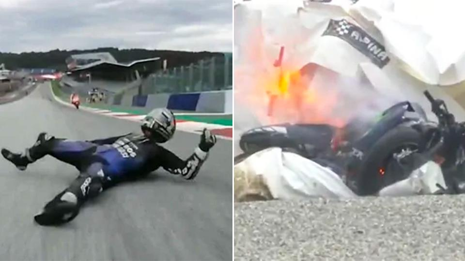 Pictured here, Maverick Vinales had to jump off his bike at high speed after his brakes failed.