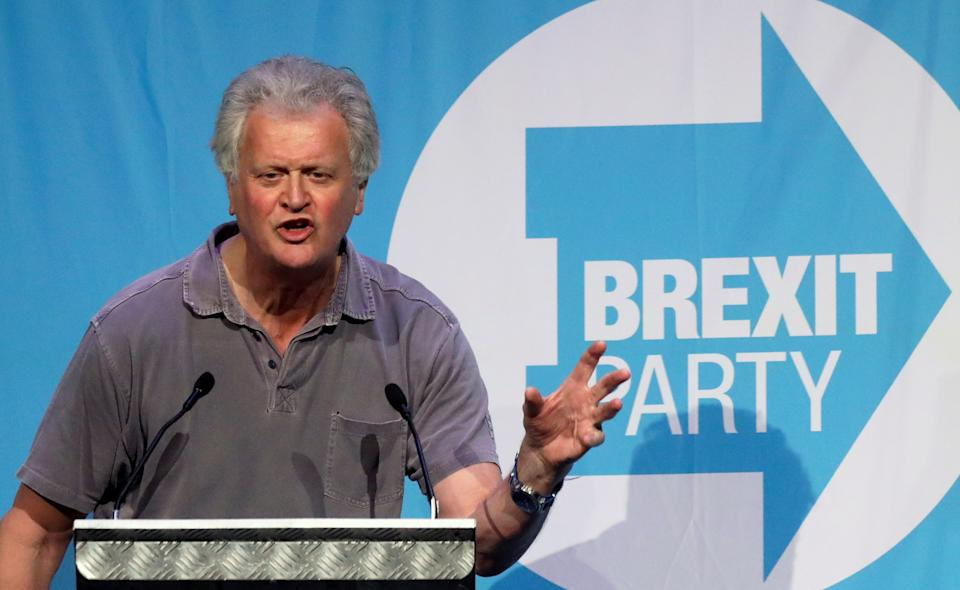 Wetherspoon chairman Tim Martin speaks during a rally of the Brexit Party in Peterborough, Britain May 7, 2019. REUTERS/Simon Dawson