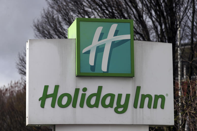 The sign for the Holiday Inn hotel near Heathrow Airport in London, which has been reserved by the Government for people arriving from abroad to self-isolate.