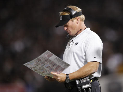 FILE - In this Sept. 10, 2018, file photo, Oakland Raiders head coach Jon Gruden is shown on the sideline during the second half of an NFL football game against the Los Angeles Rams, in Oakland, Calif. The Raiders play at the Miami Dolphins on Sunday, Sept. 23. (AP Photo/John Hefti, File)