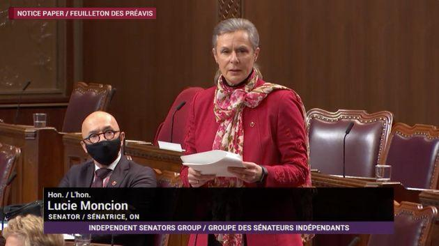 Sen. Lucie Moncion delivers a speech about a motion proposing the Senate ask the House of Commons to table legislation to freeze pay increase for parliamentarians during the pandemic.