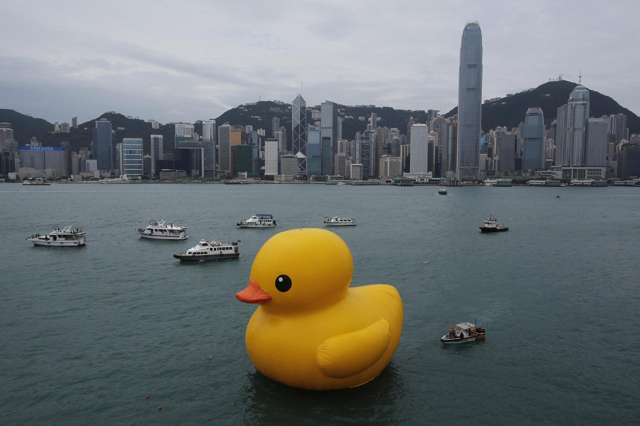A giant Rubber Duck created by Dutch artist Florentijn Hofman is towed along Hong Kong's Victoria Habour Thursday, May 2, 2013. Since 2007 the 16.5-meter (54 feet)-tall Rubber Duck has traveled to various cites including Osaka, Sydney, Sao Paulo and Amsterdam. (AP Photo/Vincent Yu)