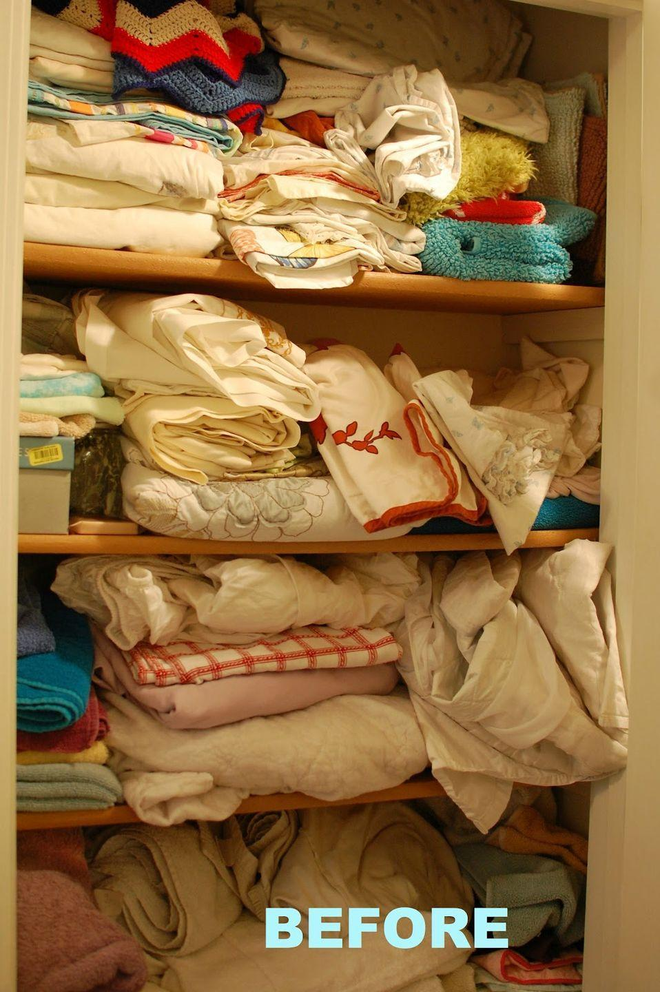 """<p>Nothing's more frustrating than grabbing a twin sheet set for your queen bed. If you stack all of <a href=""""http://abirdandabean.com/2012/03/10-linen-closet-redo.html"""" rel=""""nofollow noopener"""" target=""""_blank"""" data-ylk=""""slk:your linens"""" class=""""link rapid-noclick-resp"""">your linens</a> together that's bound to happen on a regular basis.</p>"""