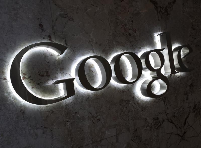 A Google logo is seen at the entrance to the company's offices in Toronto
