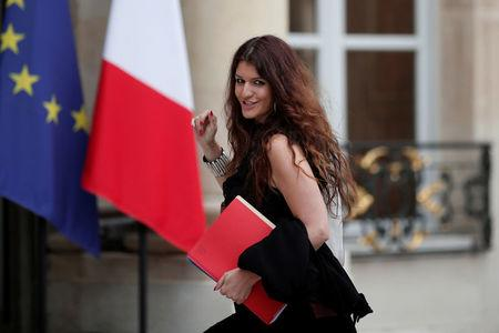 FILE PHOTO: French Junior Minister in charge of Equality between men and women Marlene Schiappa arrives at the Elysee Palace to attend the weekly cabinet meeting in Paris