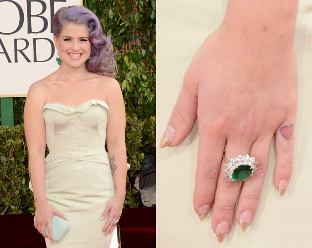 Kelly Osbourne's sparkley tipped heart manicure mimicked her heart tattoo on her pinky at the 2013 Golden Globes.