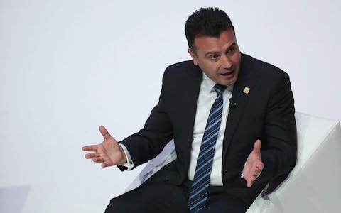 North Macedonia's Prime Minister Zoran Zaev speaks during an event 'NATO Engages' at Central Hall Westminster - Credit: Francisco Seco/AP