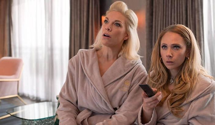 Rebecca (Hannah Waddingham, left) at first seems cold, but she warms to a friendship with team hanger-on Keeley (Juno Temple). Both actresses are up for Emmys.