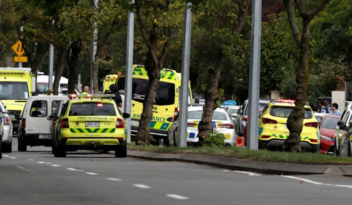 Ambulances parked outside a mosque in central Christchurch, New Zealand, Friday, March 15, 2019. (Photo: Mark Baker/AP)