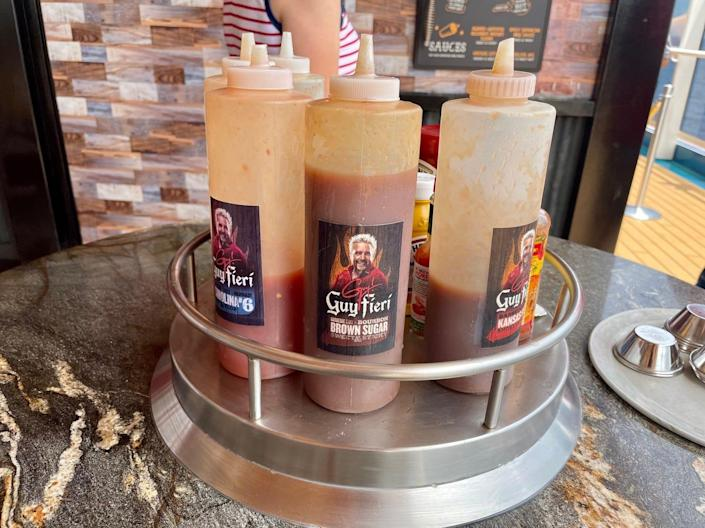 The four hot sauces at Guy's Pig & Anchor Bar-B-Que.