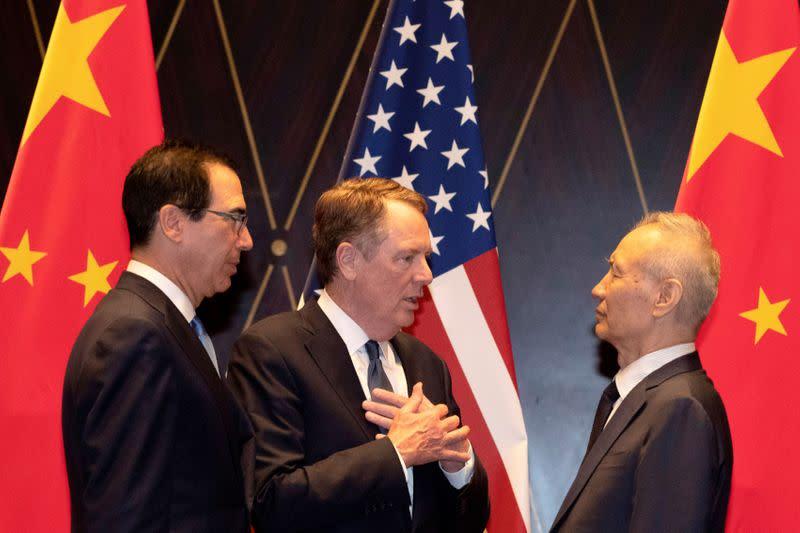 FILE PHOTO: U.S. Trade Representative Lighthizer and Treasury Secretary Mnuchin meet China Vice Premier Liu in China