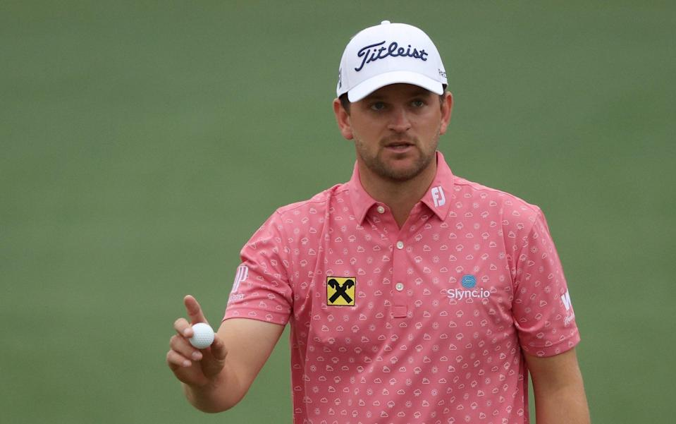 Bernd Wiesberger of Austria reacts to his putt on the second green during the second round of the Masters at Augusta National Golf Club on April 09, 2021 in Augusta, Georgia - Getty Images North America/Kevin C. Cox