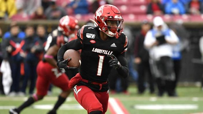 Louisville wide receiver Tutu Atwell (1) during the first half of an NCAA college football game in Louisville, Ky..