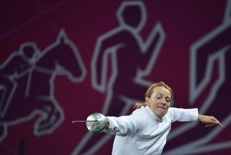 Ukraine's Viktoriya Tereshchuk practises between rounds at the fencing event during the women's modern pentathlon at the London 2012 Olympic Games at the Copper Box August 12, 2012.     REUTERS/Toby Melville