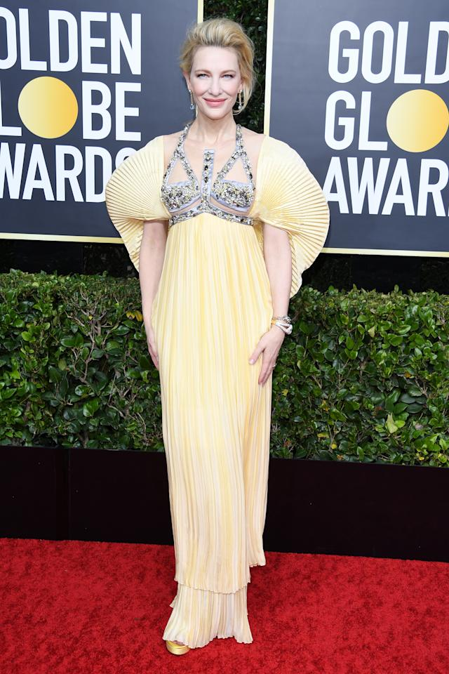 "Blanchett wore a high fashion look from designer Mary Kantrantzou to celebrate her nomination for ""Where'd You Go, Bernadette?"" The 52-year-old three-time Golden Globe winner accessorized the look with luxury jewels from Italian designer Pomellato. (Photo by Daniele Venturelli/WireImage)"