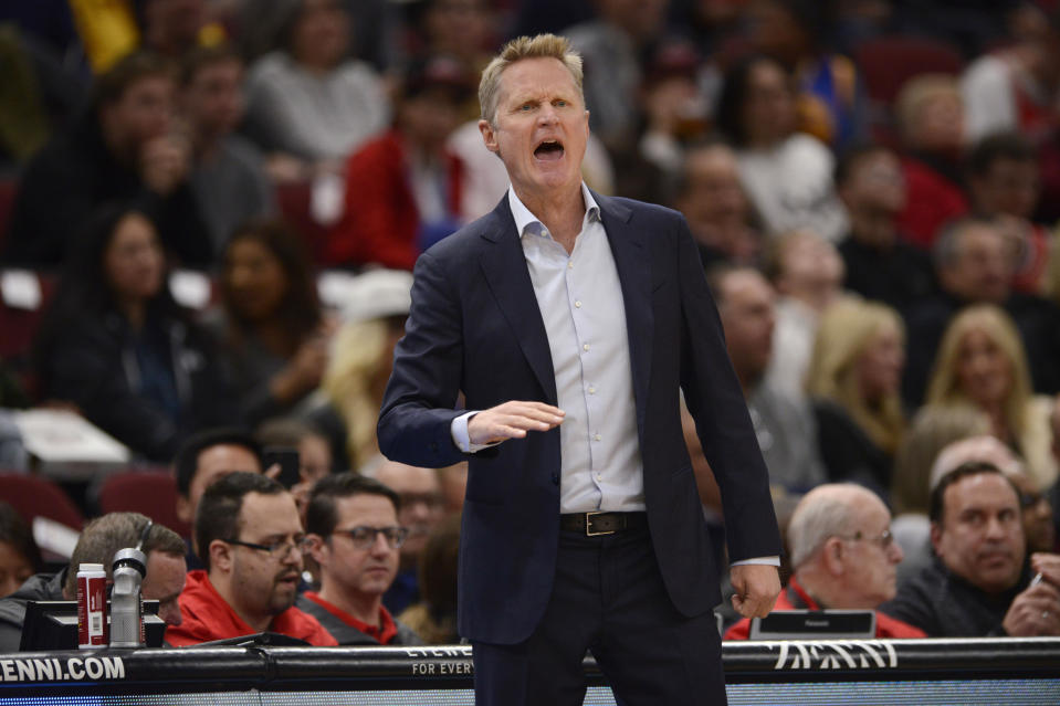 Warriors coach Steve Kerr reflected on the fact that he almost wound up coaching the Knicks. (AP Photo/Paul Beaty)