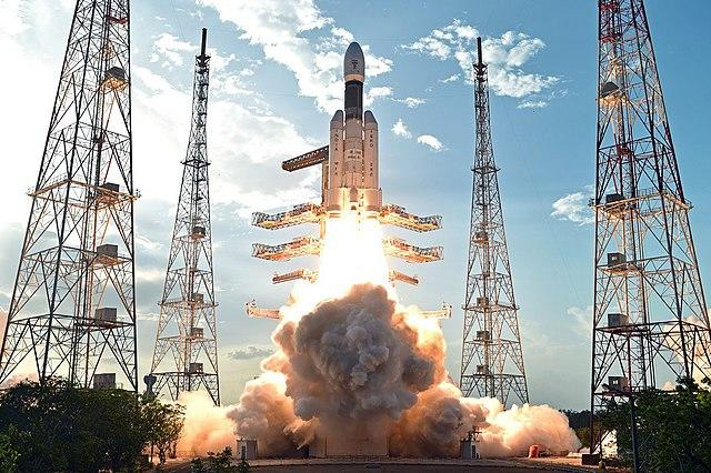 Geosynchronous Satellite Launch Vehicle Mark III is intended as a launch vehicle for crewed missions under the Indian Human Spaceflight Programme. Image credit: By Indian Space Research Organisation, Department of Space, Government of India - https://www.isro.gov.in/gslv-mk-iii-d1-gsat-19-mission/gslv-mk-iii-d1-gsat-19-mission-gallery, direct link, GODL-India, https://commons.wikimedia.org/w/index.php?curid=72037376