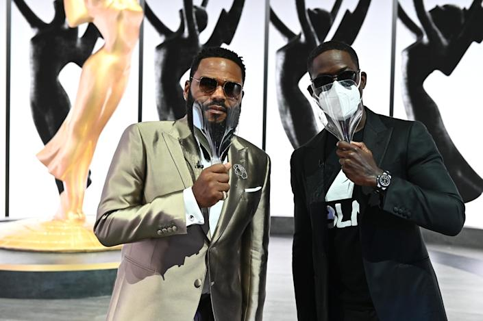 "Only a few stars appeared at Staples Center in Los Angeles for the 72nd Primetime Emmy Awards. Among them were Anthony Anderson, left, and Sterling K. Brown, who wears a Black Lives Matter shirt. <span class=""copyright"">(Image Group LA/ABC)</span>"