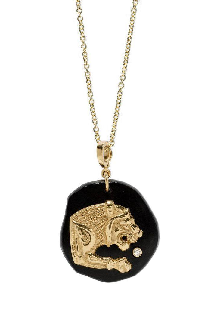 "<p><strong>Azlee</strong></p><p>azleejewelry.com</p><p><strong>$3550.00</strong></p><p><a href=""https://azleejewelry.com/necklaces/lion-amulet-large-necklace"" rel=""nofollow noopener"" target=""_blank"" data-ylk=""slk:SHOP IT"" class=""link rapid-noclick-resp"">SHOP IT</a></p><p>This pendant features a lion representing strength and power. With an adjustable chain, this necklace can be worn in a ton of different ways. </p>"