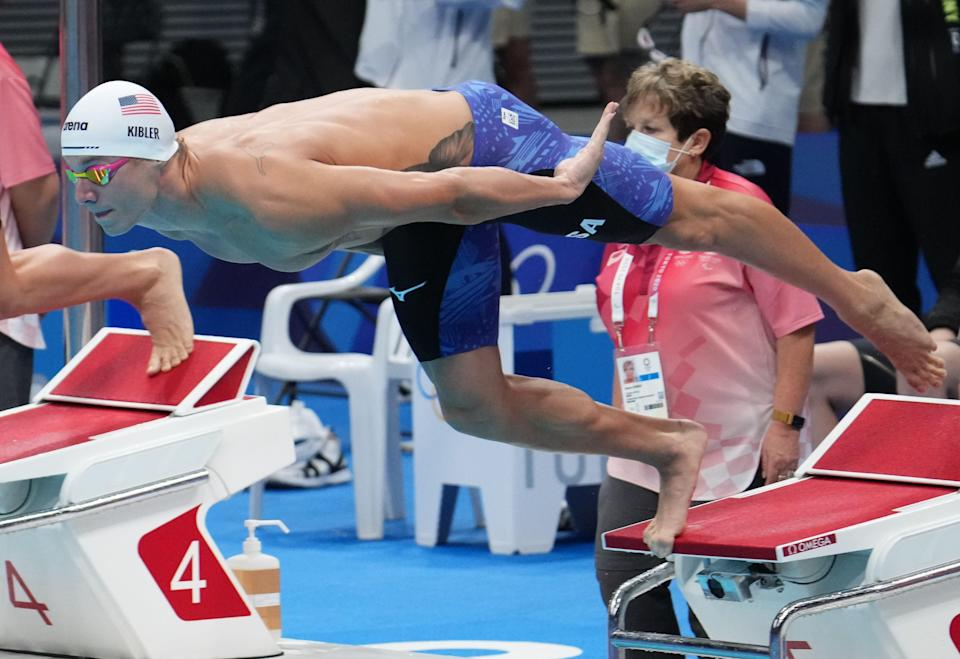 Drew Kibler (USA) in the men's 4x200m freestyle relay heats during the Tokyo 2020 Olympic Summer Games at Tokyo Aquatics Centre.