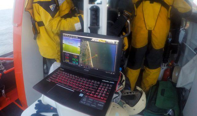 A computer programs a drone to take off from a lifeboat at Caister in Norfolk