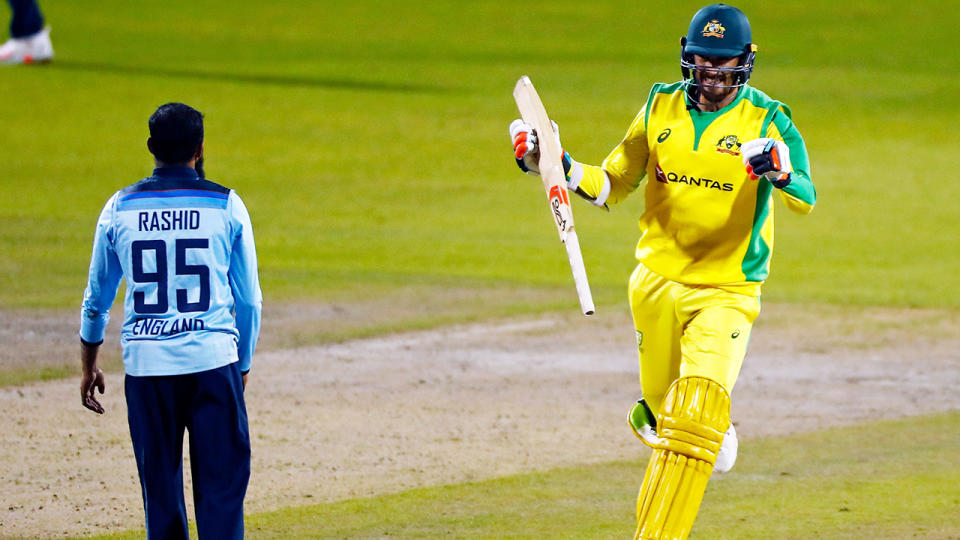 Mitchell Starc, pictured here celebrating after Australia beat England in the third ODI.