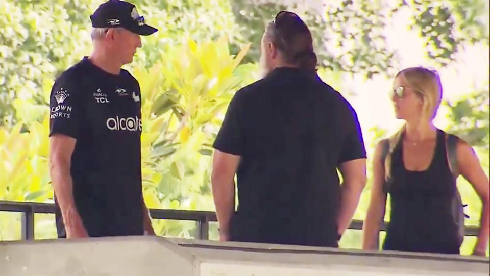 Russell Crowe and Britney Theriot, pictured here speaking to Wayne Bennett at Rabbitohs training.