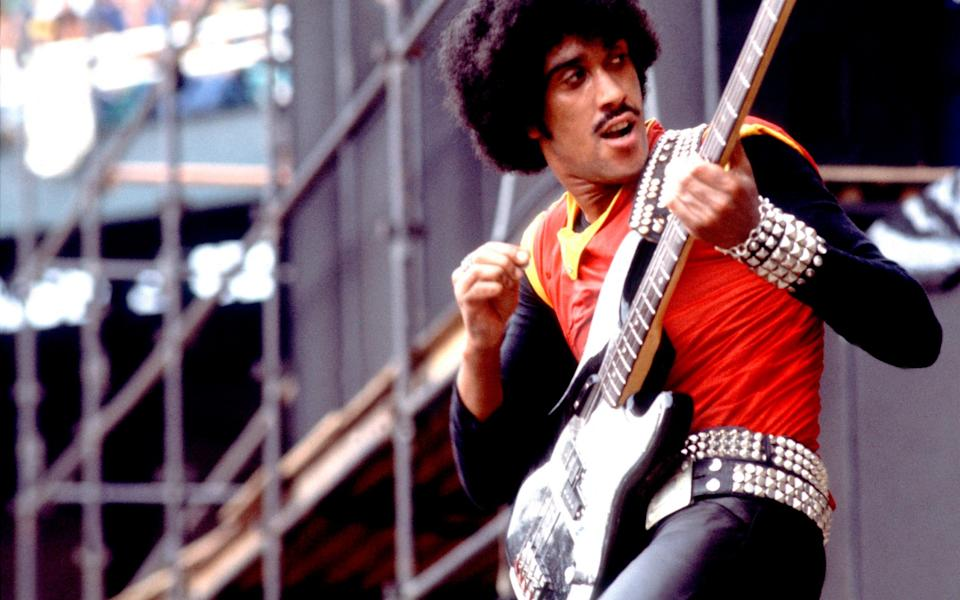 """""""With his big afro and stylish swagger, the pervading image of Lynott is as a piratical bassist and singer"""" - Archive Photos"""