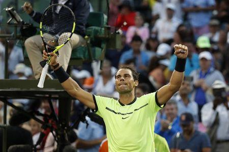Mar 24, 2017; Miami, FL, USA; Rafael Nadal of Spain celebrates after his match against Dudi Sela of Israel (not pictured) on day four of the 2017 Miami Open at Brandon Park Tennis Center. Nadal won 6-3, 6-4. Mandatory Credit: Geoff Burke-USA TODAY Sports