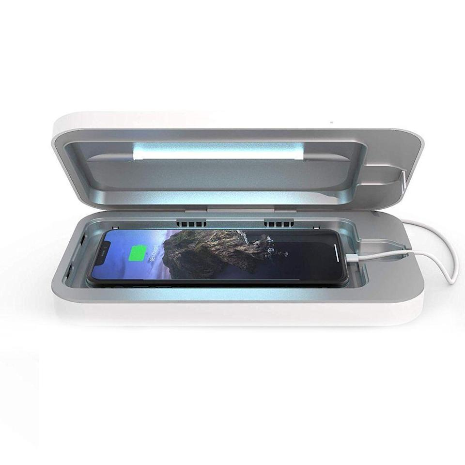 """<p><strong>PhoneSoap</strong></p><p>amazon.com</p><p><strong>$79.95</strong></p><p><a href=""""https://www.amazon.com/dp/B071KGVLBB?tag=syn-yahoo-20&ascsubtag=%5Bartid%7C2089.g.291%5Bsrc%7Cyahoo-us"""" rel=""""nofollow noopener"""" target=""""_blank"""" data-ylk=""""slk:Shop Now"""" class=""""link rapid-noclick-resp"""">Shop Now</a></p><p>If your friend can't last more than a few seconds without touching their phone, <a href=""""https://www.bestproducts.com/tech/a26257095/phonesoap-smartphone-sanitizer-review/"""" rel=""""nofollow noopener"""" target=""""_blank"""" data-ylk=""""slk:this bacteria-busting solution"""" class=""""link rapid-noclick-resp"""">this bacteria-busting solution</a> will help keep their hefty usage healthy. </p><p>Once placed inside, two germicidal UV-C bulbs will sanitize their phone, killing an impressive 99.99% of harmful bacteria and germs for safer handling.</p>"""