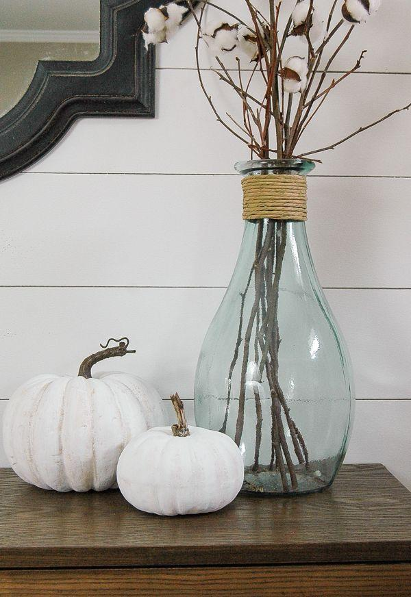 """<p>No white pumpkins to play around with? No problem! DIY your very own set with this step-by-step tutorial, which will help you transform plastic dollar store pumpkins into the beauties you see here.</p><p><strong>Get the tutorial at <a href=""""https://www.littlehouseoffour.com/2016/08/how-to-make-inexpensive-faux-pumpkins.html"""" rel=""""nofollow noopener"""" target=""""_blank"""" data-ylk=""""slk:Little House of Four"""" class=""""link rapid-noclick-resp"""">Little House of Four</a>.</strong></p><p><strong><strong><strong><strong><strong><a class=""""link rapid-noclick-resp"""" href=""""https://go.redirectingat.com?id=74968X1596630&url=https%3A%2F%2Fwww.walmart.com%2Fsearch%2F%3Fquery%3Dwhite%2Bchalk%2Bpaint&sref=https%3A%2F%2Fwww.thepioneerwoman.com%2Fhome-lifestyle%2Fdecorating-ideas%2Fg36664123%2Fwhite-pumpkin-decor-ideas%2F"""" rel=""""nofollow noopener"""" target=""""_blank"""" data-ylk=""""slk:SHOP WHITE CHALK PAINT"""">SHOP WHITE CHALK PAINT</a></strong></strong></strong></strong><br></strong></p>"""