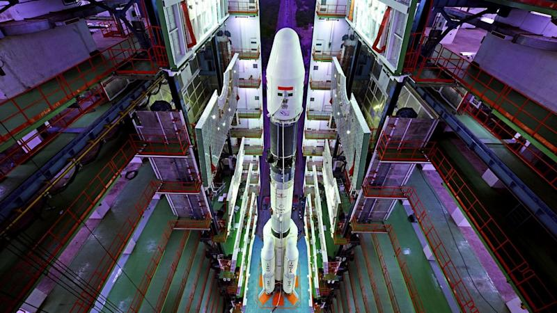 Fully Integrated GSLV-F08 inside the Vehicle Assembly Building. ISRO