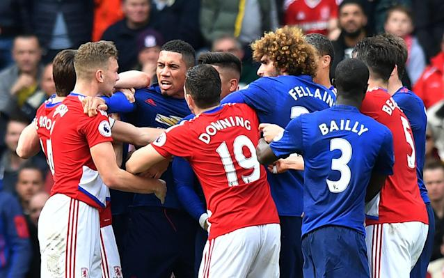 <span>Tempers flare at the Riverside</span> <span>Credit: REUTERS </span>