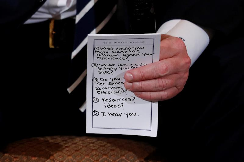 Another view of Trump's prepared questions photographed by Reuters. (Jonathan Ernst / Reuters)