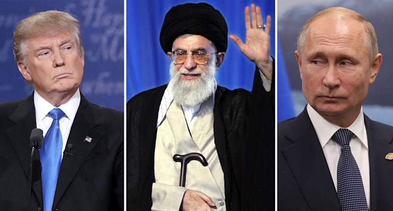 Donald Trump, Iran's Supreme Leader Ali Khamenei, and Vladimir Putin. (Getty)