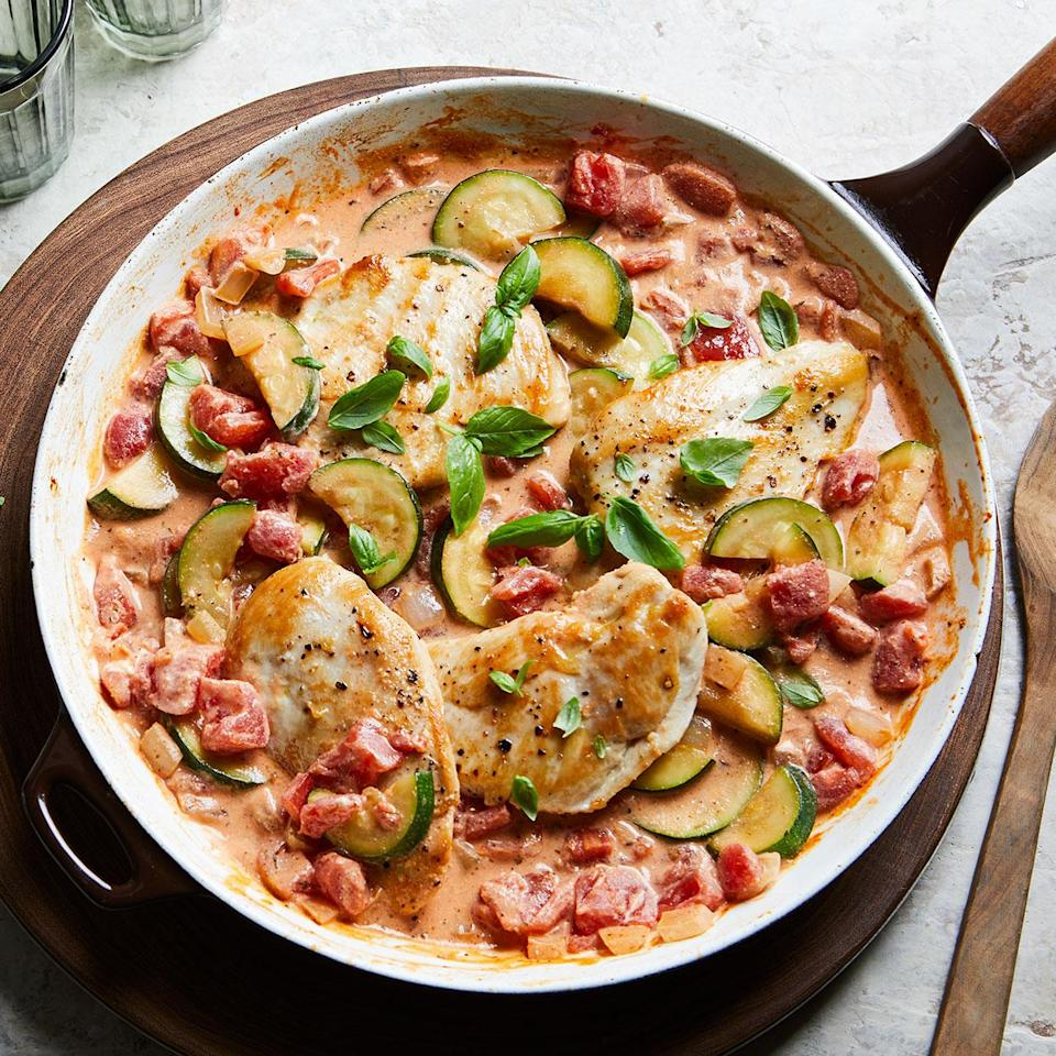 <p>Chicken cutlets cook quickly and are highlighted with a creamy sauce made with tomatoes, zucchini and Italian seasoning. This recipe is sure to become a new weeknight favorite the whole family will love. Serve it with whole-wheat pasta or rice to make it a meal.</p>