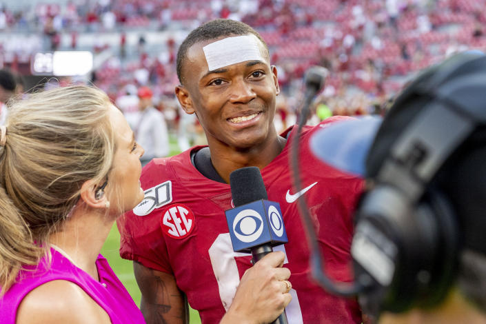 FILE - Alabama's DeVonta Smith speaks with the media after an NCAA college football game against Mississippi in Tuscaloosa, Ala., in this Saturday, Sept. 28, 2019, file photo. DeVonta Smith is expected to be a first round pick in the NFL Draft, April 29-May 1, 2021, in Cleveland. (AP Photo/Vasha Hunt, File)
