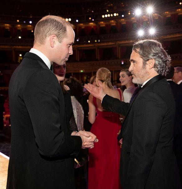 PHOTO: Prince William, Duke of Cambridge speaks with BAFTA winner Joaquin Phoenix at the EE British Academy Film Awards 2020 at Royal Albert Hall on Feb. 2, 2020 in London. (Jeff Gilbert/Getty Images)