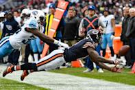 <p>Josh Bellamy #11 of the Chicago Bears cannot complete the pass ahead of LeShaun Sims #36 of the Tennessee Titans in the fourth quarter at Soldier Field on November 27, 2016 in Chicago, Illinois. (Photo by David Banks/Getty Images) </p>
