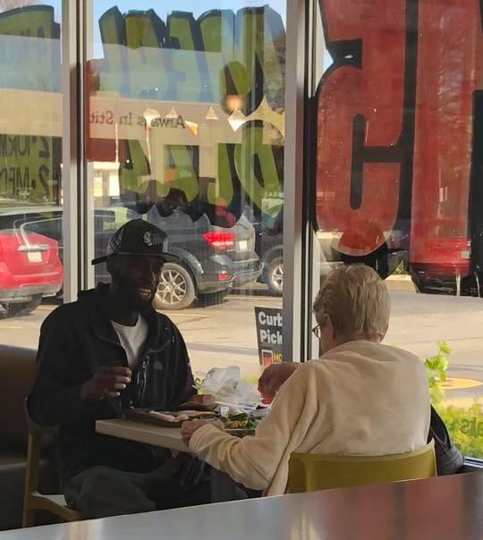 McDonald's customer Jan Jessup didn't want to eat alone, so she befriended Eric Haralson. (Photo: Amanda Marquell Craft)