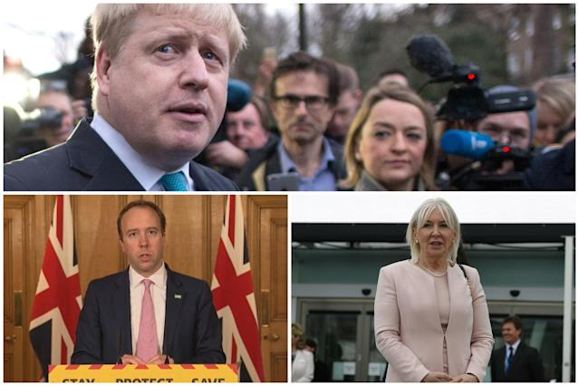 Matt Hancock and Nadine Dorries, bottom left and right, have criticised media outlets for its reporting about Boris Johnson and the government during the coronavirus outbreak.